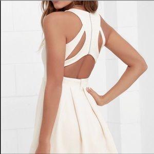 D309 Lulu's  Cutout Back Pleated Skirt Mini Dress